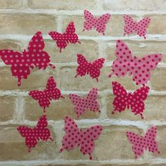 3D Butterfly Pink Wall Stickers, Wall Decals. Set of 12 stickers Girls Nursery or Room