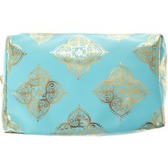 Mint and Gold Medallion Make Up Bag ($13) ❤ liked on Polyvore featuring beauty products, beauty accessories, bags & cases, toiletry kits, make up purse, dop kit, wash bag and make up bag