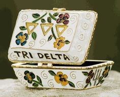 white Tri Delta pin box with pansy's