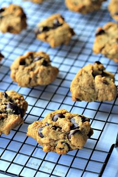 These Healthy Pumpkin Chocolate Chip Cookies are made with coconut oil instead of butter. They're super moist, full of pumpkin flavor and perfect for Fall! #pumpkin #chocolatechip #cookies #healthy #pumpkincookies #chocolatechipcookies #pumpkinchocolatechipcookies