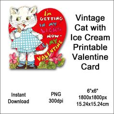 Vintage Cat Valentine Card Victorian Valentine's Day Printable Kitten Animal Clipart Card Instant Do Cat Valentine, Valentines Design, Printable Valentine, Vintage Images, Vintage Designs, Victorian Valentines, Download Digital, Image Collection, Clipart