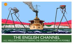 37. The English Channel - Autun Purser Illustration. Quote from the artist: Few books are quite so English as 'War of the Worlds'. Few English locations within the book are as important to the nation as the cliffs of Dover. I took some liberties in putting 'HMS Thunder Child' here, but whatever.