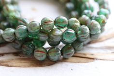 SEASHORE MELONS .. NEW 25 Picasso Czech Melon Beads 6mm (5098-st) by ArteBellaSurplus on Etsy