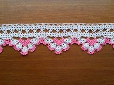 ¡VENTA! Toalla de borde (rosa y blanco) - borde ganchillo algodón toalla recortes - ganchillo Home Decor - Crochet bordes de encaje