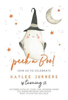 Ghostly Birthday - Birthday Invitation #invitations #printable #diy #template #birthday #party Halloween Birthday Party Invitations, Free Birthday Invitations, Holidays Halloween, Create Yourself, Printable, Kid, Draw, Child, To Draw