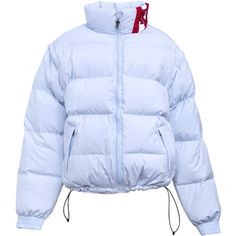 Kani Bubble Coat (2.710 NOK) ❤ liked on Polyvore featuring outerwear, coats, jackets, coats & jackets, double face coat, bubble coat, blue coat, silver coat and feather coat