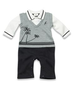 Look what I found on #zulily! Gray Palms Romper - Infant #zulilyfinds