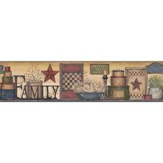 "Country Keepsakes Family Shelf  15' x 9"" Scenic Border Wallpaper"