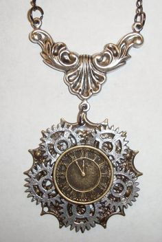 Victorian Steampunk Gears of Time Handmade Industrial Clock Gear Necklace