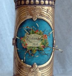 Dresden candy container. Detail.  Victorian scrap and tinsel over silk. by Betsy Browning