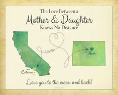 Mother's Day Gift, Long Distance Gift, Birthday Gift for Mom, Mother and Daughter Quote, Going Away Gift, Map Art Print, Any Two Places