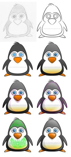 How to draw a cartoon penguin filled with hair #howtodraw #drawinglesson #cartoonpenguin