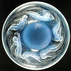 Rene Lalique Opalescent Glass Bowl,with Nymphs/Naiads cavorting around the perimeter.