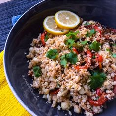 Cauliflower Rice: ✔️1 full head of organic cauliflower ✔️1 large red bell pepper ✔️himalayan sea salt (to taste) ✔️ @flavorgod lemon garlic (to taste) ✔️1 tbsp fresh rosemary ✔️1 tbsp coconut oil ✔️1 tbsp @omgheebutter ✔️1 handful fresh cilantro (chopped). DIRECTIONS: Heat coconut oil in a large skillet and sauté peppers with a little sea salt until they are tender. Wash cauliflower, place in food processor and pulse to desired texture. Using cheese cloth or paper towels, squeeze all liquid…