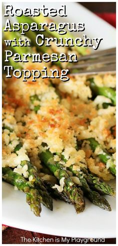 Take it to the next level with crunchy Parmesan cheese on top! This Roasted Asparagus with Crunchy Parmesan Topping is super flavorful -- and super easy to make. A perfect side dish for Easter or everyday dinner. Healthy Dinner Recipes, Appetizer Recipes, Easter Recipes, Appetizers, Spring Recipes, Vegetarian Meals, Veggie Recipes, Soup Recipes, Easy Asparagus Recipes