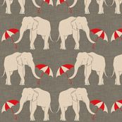 "elephant and umbrellas fabric by holli_zollinger for sale on Spoonflower.  Pillows for my ""Alabama"" room!"