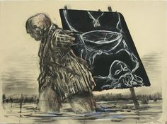 William Kentridge Stops at some point of his animation and leaves a marker in the form of one drawing