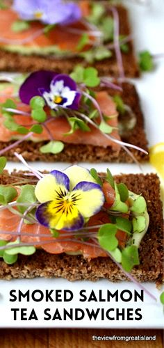 Nordic Open Faced Smoked Salmon Sandwiches are exquisitely delicate and healthy ~ these pretty tea sandwiches are perfect for brunches, luncheons, showers, tea parties, and more!  #salmon #dill #nordicrecipes #smokedsalmon #brunch #appetizer #healthy #colorfulfood #edibleflowers #microgreens #toasts #homemademayo #scandinavianfood #ryebread #seafood Healthy Salmon Recipes, Beef Recipes, Smoked Salmon Sandwich, Unique Recipes, Ethnic Recipes, Scandinavian Food, Island Food, Tea Sandwiches, Great Appetizers