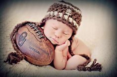 I WILL be doing a picture like this...it is a must to be Elliots son :)      Newborn Photo Prop Baby Boy Football Hat by MitziKnitz on Etsy, $23.00