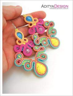 Soutache Earrings Rainbow Earrings Multicolor Earrings Statement Earrings Dangle Earrings Mexican Earrings frida kahlo earrings