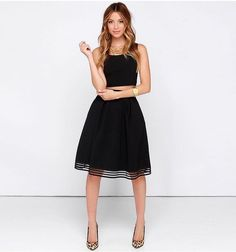 Women's Knee Length, Black A-Line Skirt, Mesh Stitching, Vintage Style, 2017 Fashion Trend. This HOT skirt is a must for Daytime, Parties, Club, Work or Evening Wear! Size: XS, S, M, L, XL, XXL, Plus