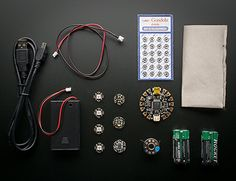 FLORA Sensor Pack from Adafruit ($74.95) | Includes Flora microcontroller, USB cable, Flora Color Sensor, Flora Accelerometer/Compass, Flora Lux Sensor, woven conductive fabric, fabric snaps, 4 AAA batteries, 3 AAA battery holder with switch, 4 Flora RGB Neopixels, conductive thread