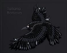 "Brooch ""Black Crow"", beadwork, author Tatiana Borisova, 2017 Брошь ""Черный Ворон"" вышивка бисером, Татьяна Борисова"