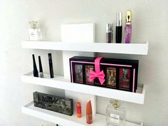 Mineral makeup is the most current thing and it's based upon the oldest things. As an all-natural makeup, these mineral-containing makeups are being promoted as something that can in fact assist your skin. Wall Mounted Makeup Organizer, Wall Mounted Shelves, Shelf, Makeup Shelves, Makeup Storage, Wall Organization, Makeup Organization, Floating Wall, Floating Shelves