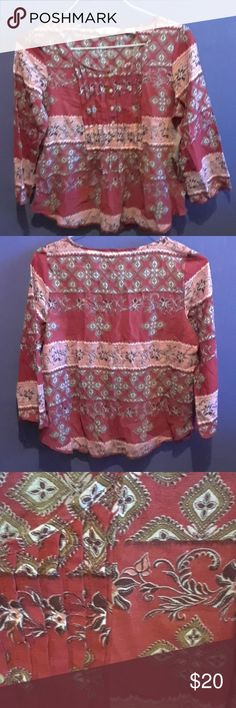 Ralph Lauren Denim and Supply new Bohemian top NEW Brand new red button down with a beautiful printed pattern. Tops Blouses