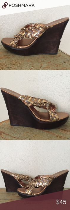 """DVF Metallic Wedge Sandals Lightly worn Diane Von Furstenburg wedge sandals with woven bronze, gold, silver leather straps and a 5.25"""" wooden heel. Rubber sole and soft cushion insole. Dust bag & box included. Size 9.5. Made in Brazil. Diane Von Furstenberg Shoes Wedges"""