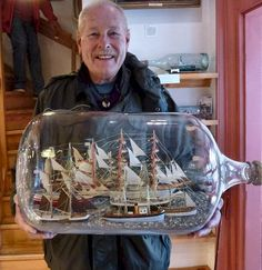 Biggest bottle Boat In A Bottle, Ship In Bottle, Big Bottle, Bottle Art, Model Sailing Ships, Model Ships, Wooden Model Boats, Model Ship Building, Nautical Art