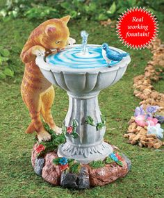 Cat Fountain Garden Statue