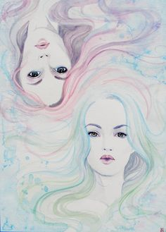A beautiful painting by @Anastasia King given to me as part of an artist trade. I love the pastel hair of these dreamy mermaid sisters <3