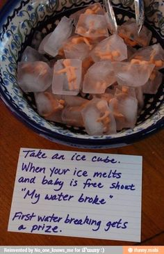"""""""My Water Broke!"""" baby shower game. Mini baby figurines frozen in ice cubes. The ice cubes a pretty creepy, but I love that people can be involved with an activity and still just hang out. No sitting around awkwardly staring at each other while sitting in a group therapy style circle."""