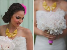 white wedding bouquet with bright pops of colour