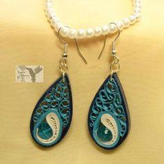 Earrings, teardrop, blue, aqua, teal, white, simple.
