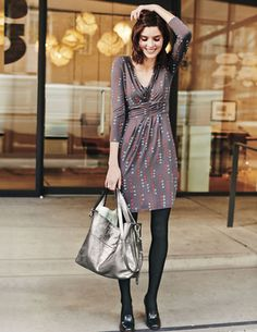 Throw this Gathered Band Tunic in pewter spot via #Boden on over leggings and you will look cute enough for a night out while being comfy enough for a night in.