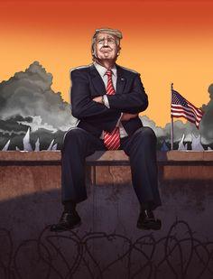 Art by Daniel Garcia - Donald Trump (trump, USA, inauguration, president, wall, storm)