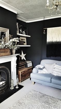 Malmo & Moss House: Taking our Living Room to the Dark Side — Malmo & Moss Dark Grey Walls Living Room, Living Room With Fireplace, New Living Room, Interior Design Living Room, Living Room Designs, The Dark Side, Living Room Decor Inspiration, Black Rooms, Diy Home
