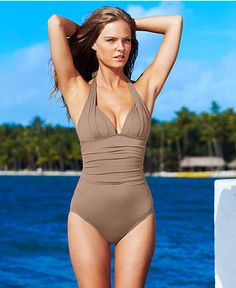 DKNY Swimsuit, Halter Ruched Maillot One-Piece - Womens Swimwear - Macy's 108