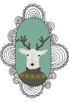 Collection : Animal portraits by Suz Sanchez, via Behance Type Illustration, Illustrations, Pet Portraits, Paper Art, Christmas Diy, Deer, Crafty, My Love, Floral