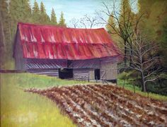 "James & Geneva Roberts Barn oil on canvas, 2016 16"" x 20"" $450 (Auctioned for the Applachian Barn Alliance)"