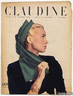 CLAUDINE Fashion Magazine 1946 N°67 Legroux, Kitrosser, Schiaparelli, Agnès-Drecoll