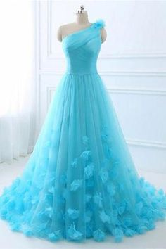 Blue one shoulder tulle long prom dress, evening dress Moco Dresses Cute Prom Dresses, Dresses For Teens, Trendy Dresses, Ball Dresses, Homecoming Dresses, Fashion Dresses, Formal Dresses, Aqua Prom Dress, Prom Gowns