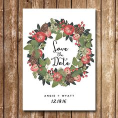 Wedding Save the Date  Christmas Winter Tis by HeidiLynnCreations