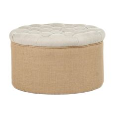 Round Tufted Jute Ottoman This is the perfect ottoman for extra seating, in the bedroom, an added coffee table or just putting your feet up!