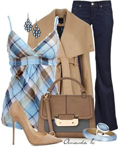 """""""Blue Plaid Top"""" by ailunsford ❤ liked on Polyvore-not the heels though"""