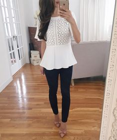 ann taylor white lace peplum top sale