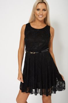 Black Lace Skater Dress With Belt