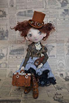Fair Masters - handmade allow yourself a bit of adventure . Pretty Dolls, Cute Dolls, Beautiful Dolls, Fabric Dolls, Paper Dolls, Rag Dolls, Steampunk Dolls, Homemade Dolls, Creation Deco